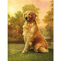 大人のための5Dダイヤモンドペインティングキットナンバーキットによる犬のペットダイヤモンドアートクラフトの家の装飾でペイント、20x26インチ(M9-459)