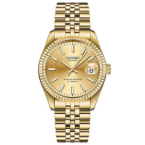Cadisen Reloj de pulsera automático para hombre minimalista con correa de malla y calendario., dorado,