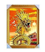 (イスイ)YISHUI 風水 龍 ドラゴン ポスター 3D 絵 開運 福運 幸運 財運 お守り インテリア (ゴールド)
