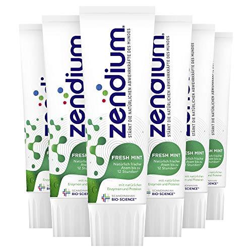 Zendium Zahnpasta (für einen natürlich frischen Atem Fresh Mint, mit Proteinen und Enzymen) (6 x 75 ml)