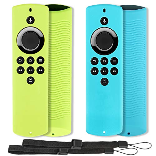 2pcs Remote Cover Compatible with Fire TV Stick Lite (2020 Release), Pinowu Shockproof Silicone Cover with Lanyard Suitable for Alexa Voice Remote Lite - (Turquoise & Green) (NOT for Fire Stick 4K)