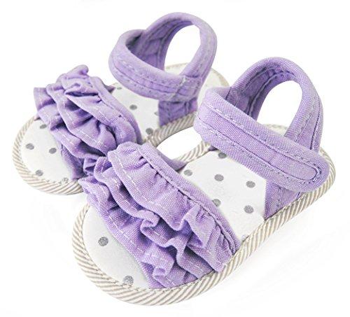 axy Sandales d'été en tissu pour bébé fille de 0 à 12 mois - Little Princess - Lavande - Violet - Lavande., 6-9 Monate