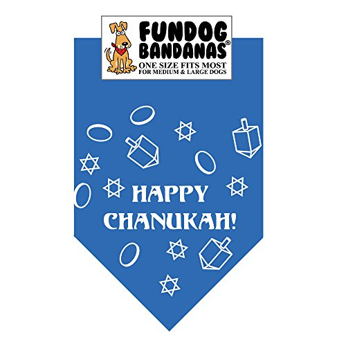 Happy Chanukah Dog Bandana (One Size Fits Most 22x22x31)