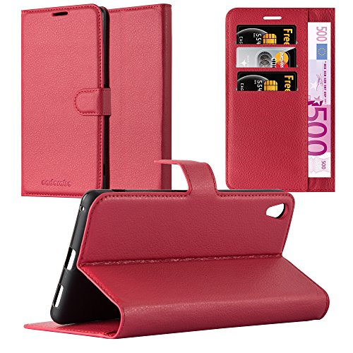 Cadorabo Funda Libro para Sony Xperia XA Ultra en Rojo CARMÍN - Cubierta Proteccíon con Cierre Magnético, Tarjetero y Función de Suporte - Etui Case Cover Carcasa