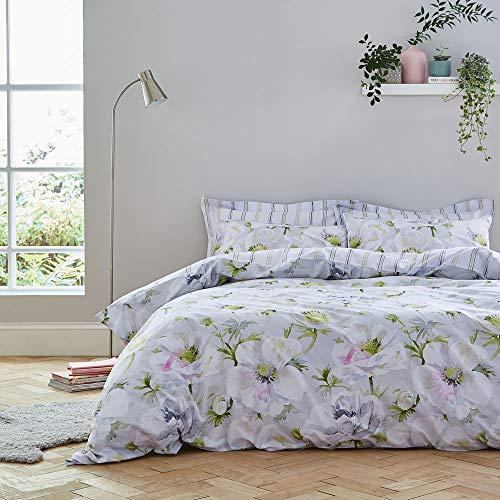 Bianca Arctic Poppy - Set copripiumino per letto king size, colore: Bianco/Verde