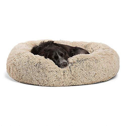 Blivener Plüsch Haustierbett für Katzen und Hunde Kuschelig Weich Runden Katze Schlafen Bett für Haustiere in Doughnut-Form Hellbraun 70 cm