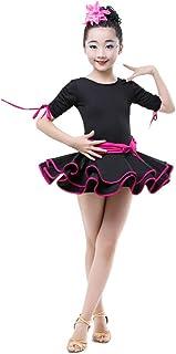 Vestido de baile de las niñas, Vestido de traje de baile latino de manga corta con pliegues para niños Rumba Samba Salón d...