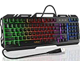 Gaming Keyboard, TedGem Keyboard Wired Keyboard USB Keyboard Wired Gaming Keyboard All-Metal Panel Spill-Resistant Keyboard with LED Backlit for Windows Gamer Desktop
