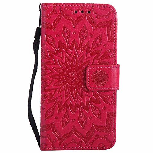 Coque G3, Dfly [Datura Fleurs de Motif] [Stand de Portefeuille] [Fermeture Magnétique] Protecteur Coque Ultra Mince Premium PU Cuir Etui Carte Fente Housse de Protection pour LG G3, Rouge