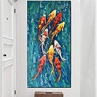 壁アート画像印刷中国の抽象的な9鯉魚風景画キャンバスポスターリビングルームモダンな装飾(40x80cm)フレームレス