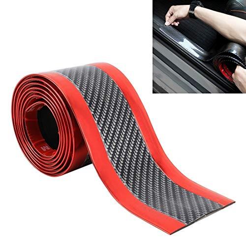 WSJIN Car Accessories Universal Electroplate Carbon Fibre Car Door Threshold Decoration Strip Decorative Sticker, Size : 3CM x 2M (Gold) (Color : Red)