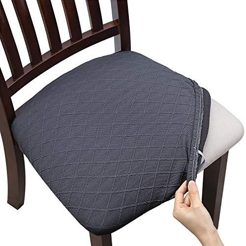 Yisun Jacquard Esszimmerstuhl Sitzbezüge, Stretch Spandex Keine Rückenlehne Esszimmerstuhl Sitzschutzbezug Abnehmbar Waschbar für Bürohochstühle 4/6 pcs (Dunkelgrau, 6)