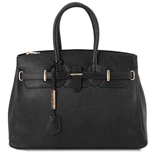 Tuscany Leather TLBag Borsa a mano con accessori oro Nero
