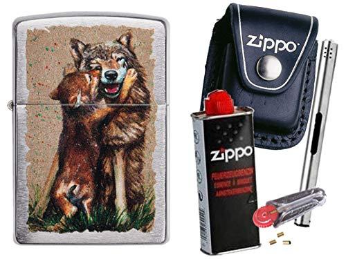 Zippo Wolf and Pup + Zippo Pouch mit Zippo Zubehör und L.B Chrome Stabfeuerzeug (mit Clip Black Pouch)