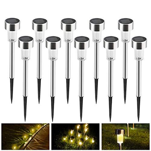 N/C Lampes Solaires De Jardin Lampes De Jardin en Acier Inoxydable Éclairage Extérieur Lampes Solaires à LED à Petit Tube Lampes De Jardin Solaires,WarmLights(10Packs)
