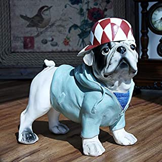 PEACOCK. Decoration Crafts - Cute Wear Hat Dog Creative Personality French Bulldog Dog Resin Dog Ornaments Figurine Statue Artificial Best Gift 1 Pcs - Silver Dog Statue