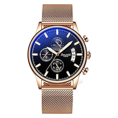 Rebily Herren Geburtstagsgeschenk Neues Konzept wasserdichte Kalenderuhr Mode Trend Multifunktionale Leuchtstoffquarz Watch Student Herrenuhr 42mm (Color : Gold)