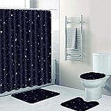 Badmatenset 4-Delig, Badmatenset Antislip Waterdicht Douchegordijn Polyester Toiletvoetstuk Tapijt Voetmat Flanel Zachte Toiletmatenset