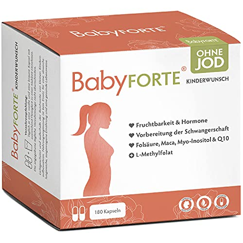 BabyFORTE® Kinderwunsch Vitamine OHNE JOD - 180 Kapseln - Vegan - 15 Nährstoffe + Folsäure 800 (Folat), Maca, Q10 + Vitamine Schwangerschaft ohne Jod