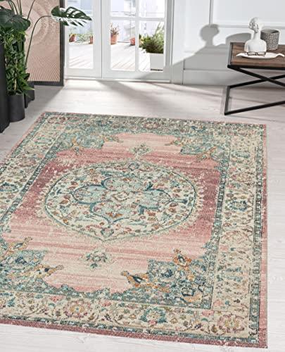 the carpet Palma In- & Outdoor Teppich Flachgewebe, Robust, Modernes Design, Vintage Optik, Used Look, Superflach, UV- und Witterungsbeständig, Orient Muster, Rosa, 120 x 170 cm