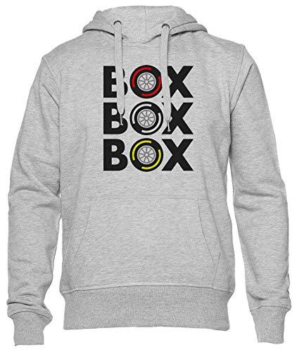 Delavi Box Box Box Tyre Compound Hoodie Herren Damen Unisex Grau Men's Women's Grey