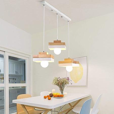 Lampe à suspension rétro à 3 flammes Table de salle à manger Lustre Blanc Noir Métal + Suspension en bois réglable en hauteur Salon Éclairage Lampe de cuisine LED Plafonnier d'intérieur L60 cm