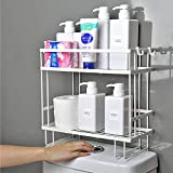 Toilet Storage Rack, 2-Shelf Bathroom Organizer Over-The-Toilet Storage, with Hanging Hook & Adhesive Base ,No Drilling Space Saver with Wall Mounting Design(White)