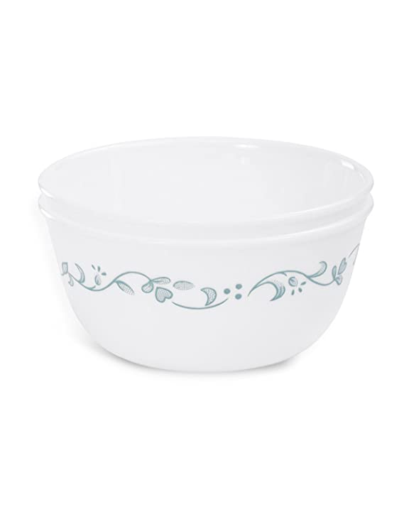 CORELLE Livingware Country Cottage Vitrelle Glass Curry Bowl   Multicolor 828ML, Pack of 2   Cereal Bowls