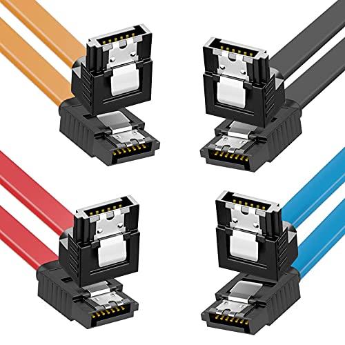 JeoPoom 4X 50CM Cavo SATA III, Cavo SATA 3 a Serial ATA ad Alta velocità di 6Gbps Sata Cable, Angolo Retto 90 Gradi per HDD SATA, SSD, Driver CD, Masterizzatore CD