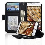 Motorola Moto X (First Generation) Folio PU Leather Wallet Case with Money Pocket - Navor (Black)