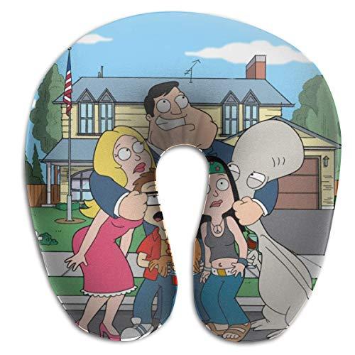 AOOEDM Cartoon American-Dad Almohadas en Forma de U Almohada de Viaje portátil para el Cuello, Almohadas Suaves para Exteriores Almohadas de Espuma viscoelástica cómodas y Transpirables, para Soporte