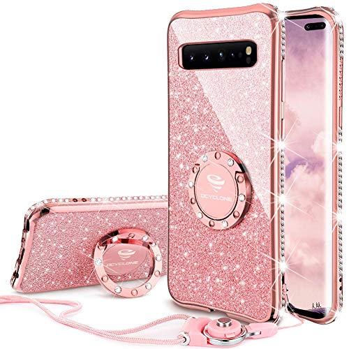 OCYCLONE Hülle Kompatibel mit Samsung Galaxy S10 5G, Glitzer Diamant Handyhülle mit Trageband und Handy Ring Ständer Schutzhülle für Galaxy S10 5G Handyhülle für Mädchen Frauen, [6.7