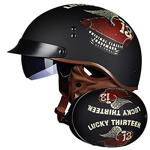 Casco de Moto Jet, Retro Casco de Moto Abierto con Visera, Cascos de Moto Half Helmet para Scooter Mofa Crash, ECE Homologado (Color : A, Size : XL=(61~62CM))