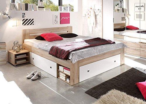 lifestyle4living Bett, Schlafbett, Kojenbett, Schlafzimmerbett, Doppelbett, 140x200, San Remo, weiß