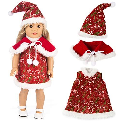ZSWQ - Bambola da 18 pollici, abbigliamento per bambole di Natale, 1 cappello di Natale + 1 sciarpa + 1 vestito per bambole americane da 18 pollici