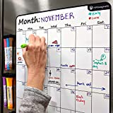 Large 13.5'x17.5' Dry-Erase Magnetic Monthly Calendar (Organizer/Planner) for Kitchen Fridge (Full Set: 8 Markers + Eraser) & Free Bonus: 3 Grocery/to-Do List Whiteboards (Stain Free) | Vertical