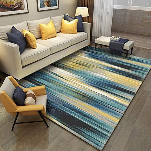YXISHOME Tapis Grande Shaggy Luxueux Super Doux Rug Nordique Abstrait rayé dégradé Bleu Jaune Tapis Contemporain Salon Design 1.6x2.8m