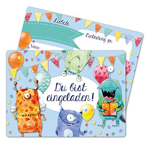 Papierdrachen 12 Einladungskarten zum Geburtstag für Kinder - Motiv Monster - Geburtstagseinladungen für Deine Geburtstagsparty (DIN A6 mit abgerundeten Ecken)