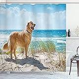 Ambesonne Dog Lover Shower Curtain, Golden Retriever on a Sandy Dune Overlooking Tropical Beach Ocean Outside Sky, Cloth Fabric Bathroom Decor Set with Hooks, 75' Long, Green Camel