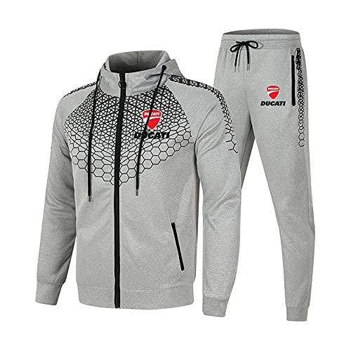 SPONYBORTY Conjunto de chándal para hombre y mujer Traje de jogging D.u-CA.ti Suéter con capucha a rayas de 2 piezas + Pantalones traje deportivo Niños/gray/L