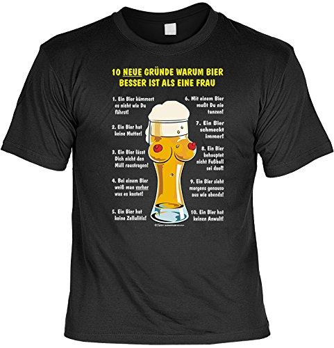 Lustiges Bier Sprüche T-Shirt mit Gratis Urkunde 10 Gründe Warum Bier Besser ist als eine Frau Geschenkartikel Geschenkidee Fun T-Shirt Fun Shirt