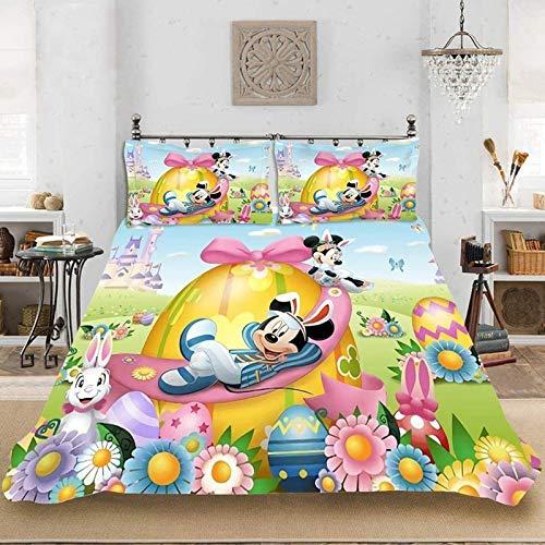 WTTING - Funda de edredón con diseño de Disney Mickey & Minnie 2/3, juego de cama, funda nórdica Mickey & Minnie con corazones estampados 3D (A,135 x 200 cm)