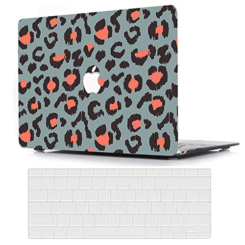 MacBook Air 13 inch Case 2020 2019 2018 Release A2179 A1932, AJYX Plastic Hard Shell Case & Clear Keyboard Cover Only Compatible with MacBook Air Retina 13 with Touch ID, Leopard