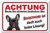 Vorsicht Schwarze französische Bulldogge - (15x20cm) thumbnail