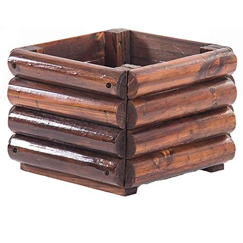 YUE Veg Macetas - Caja de Flores para macetas de Madera carbonizada, para plantación de árboles, Caja Cuadrada para Plantas Verdes al Aire Libre, Caja de plantación de bonsáis, comedero de Flore