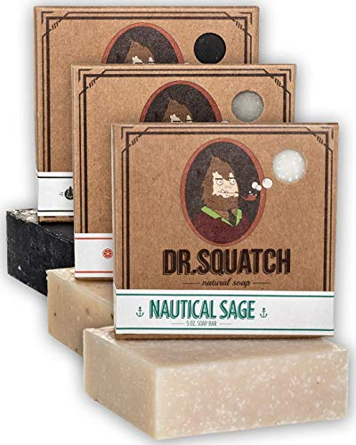 Dr. Squatch Men's Soap Variety Pack – Manly Scent Bar Soaps: Pine Tar, Cedar Citrus, Alpine Sage – Handmade with Organic Oils in USA (3 Bars)