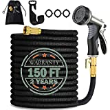 150 FT Garden Hose - Flexible Expandable Garden Hose with 9 Function Hose Nozzle and 3/4' Solid Brass Fittings Durable 3750D and Double Latex Core Outdoor Water Hose for Gardening Watering Washing