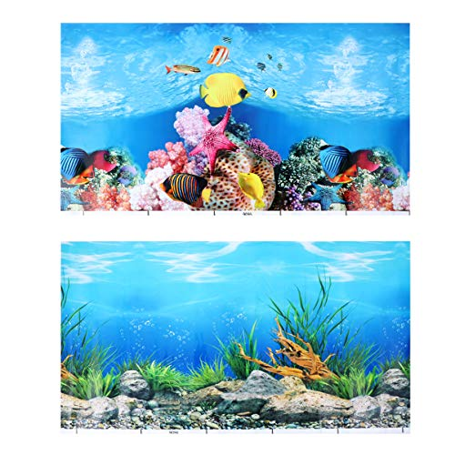 POPETPOP Pegatina de Fondo de Pecera Papel Tapiz Decorativo de Acuario 3D Papel Decorativo de Telón de Fondo Marino Submarino