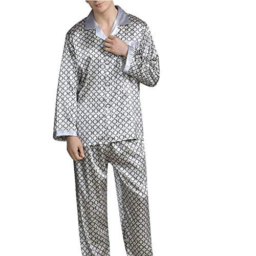 SGJKG Herren Frühling Langarm Revers Dünne Lose Pyjamas Für Gedruckte Briefe Nachtwäsche Homewear Anzug -XL
