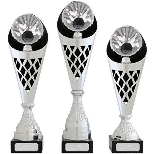 Pokal S Pokal Bowling Serie Verdun Trophäe Silber groß mit Gravur